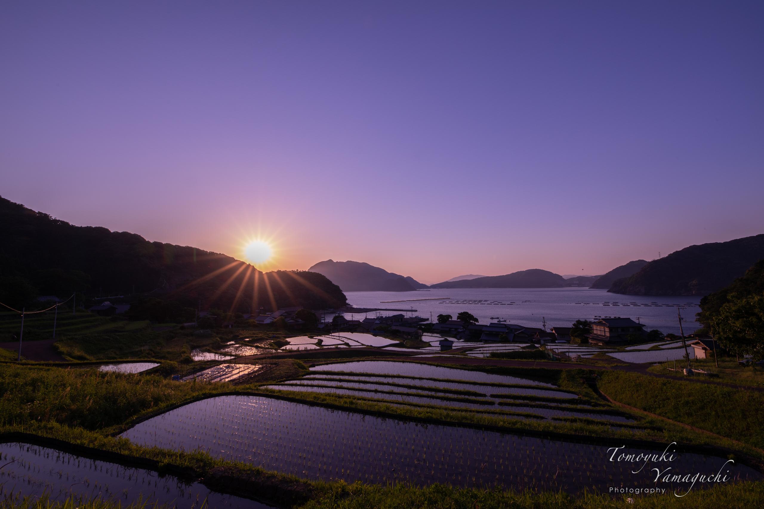海沿いの棚田で日の出風景の撮影〜『日引きの棚田』〜